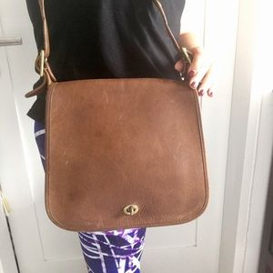 Vintage Coach Legacy Large Brown Leather Flap Bag